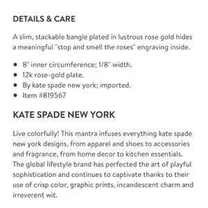 kate spade Accessories - Kate Spade idiom bangle, rose gold
